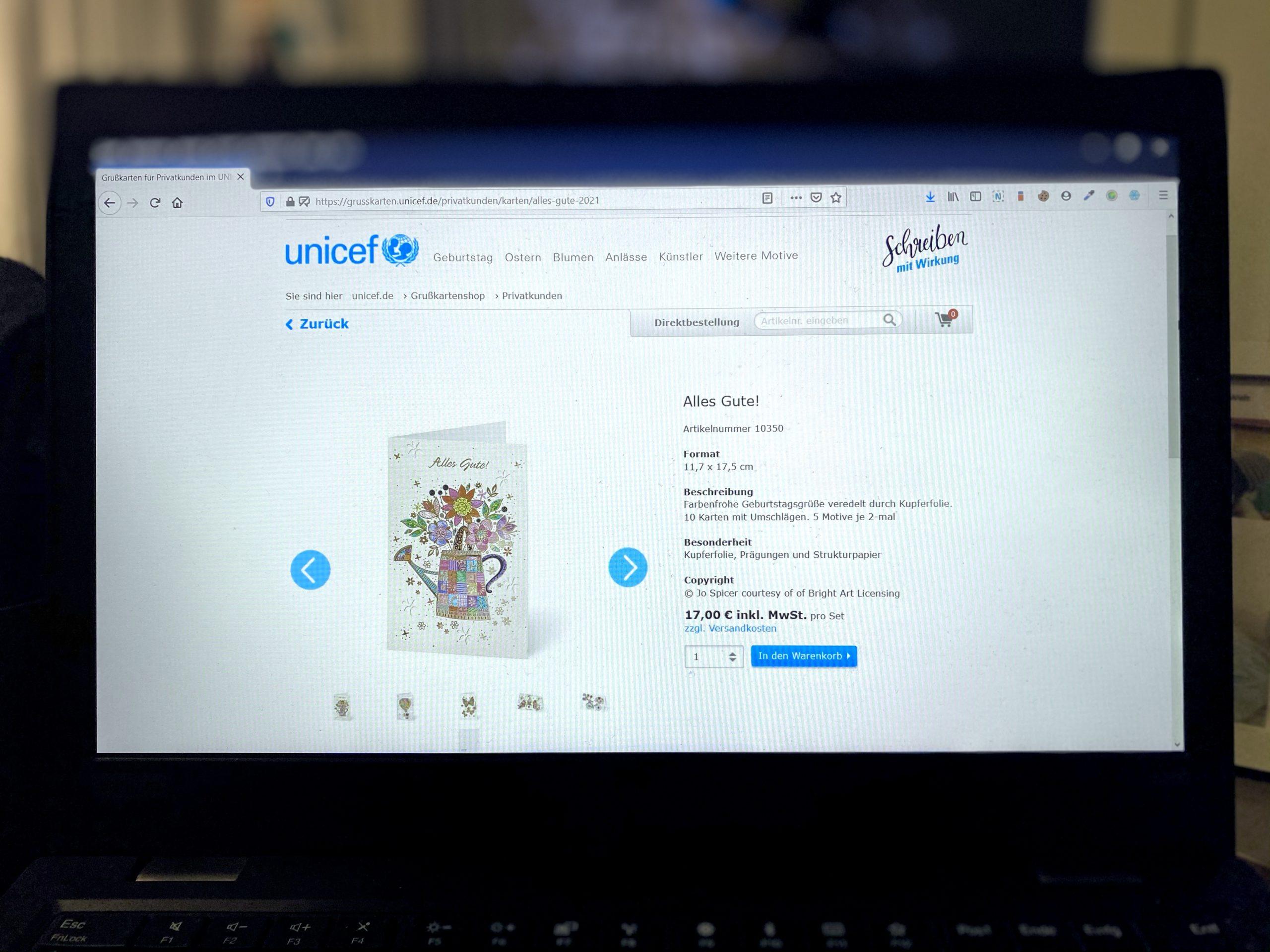 Grußkarten-Shop UNICEF – E-Commerce